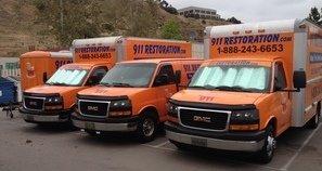 Water Damage Roseboro Vans And Trucks At Job Site